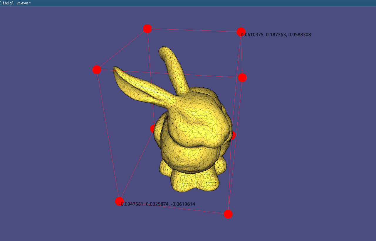 (Example 105) The bounding box of a mesh is shown using overlays.
