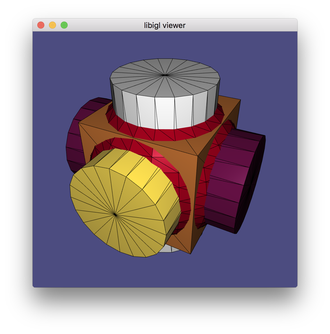(Example 107) The igl::opengl::glfw::Viewer can render multiple meshes, each with its own attributes like colors.